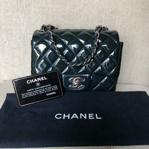 e8a6810de425db Chanel Patent Quilted Mini Square flap Navy Blue